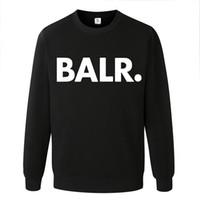 erkek cüppesi giyim toptan satış-Erkek Giyim BALR Harfler Kaput Olmadan Baskılı Casual Kazak Mens Katı Renkler Uzun Kollu Tişörtü Ücretsiz Nakliye Tops