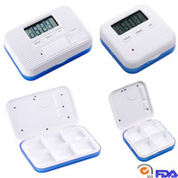 Wholesale can storage - Creative Pill Case Box For 4 And 6 Slots Cross Pill Organizer Container Can SET Reminder Time Square Tablet Case Storage Holder DHL HH7-1273