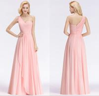 lange abendkleider für hochzeiten großhandel-Elegante rosa Brautjungfer Kleider für westliche Land Brautjungfern Hochzeiten eine Schulter Falten Reißverschluss zurück lange Abend Prom Dress