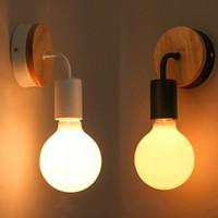 schwarze vintage wandleuchten großhandel-Moderne Holz Wandlampe Vintage industrielle Innenbeleuchtung Nachttischlampe schwarz LED Wandleuchte Up Down für Home Schlafzimmer Leuchten