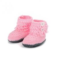 zapatos de bota de ganchillo al por mayor-Zapatos lindos Crochet Girls Handmade High-top Knit calzado niños Baby children Boots Tall Shoes 1Pair
