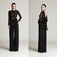 Wholesale suit red bow resale online - Modest Two Pieces Black Lace Top Pant Evening Gowns with Big Bow Arabic Prom Dresses Party Evening Wear Formal Pant Suits