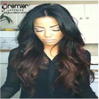 lange remy frisuren großhandel-Premier erschwingliche Ombre Lace Front Perücken indische Remy Menschenhaar 150% Dichte lange wellige Frisur für Frauen