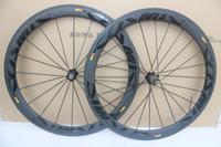 26 bisiklet tekerleği toptan satış-Parlak çıkartma kozmik slr Yarış Bisiklet karbon jantlar 50mm Karbon Yol Bisikleti Tekerlek kattığı 23mm genişlik ile bazalt fren yüzey