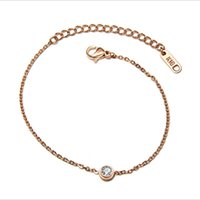 Wholesale invisible han - The new rose gold single diamond hand chain han edition fashion bracelet titanium steel jewelry accessories wholesale.