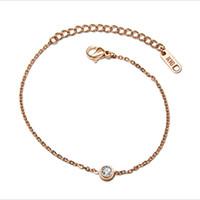 Wholesale Gold Han - The new rose gold single diamond hand chain han edition fashion bracelet titanium steel jewelry accessories wholesale.