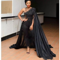 dfb15c5f5cf Sexy One Shoulder African Pantsuit Evening Dresses With Cape Black Prom  Gowns Sweep Train Plus Size Arabic Formal Party Dress