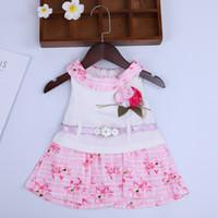 neugeborene mädchen brautkleider großhandel-Lässige Baumwolle Baby Mädchen Kleid + Gürtel Sommer Rose ärmellose Mädchen Kleider Kleider für Neugeborene Hochzeit Prinzessin Vestidos