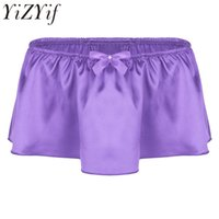 Wholesale male pink lingerie resale online - 2018 Mens Lingerie Soft Shiny Satin Ruffled Bloomer Tiered Skirted Panties Sissy Boxer Shorts Underwear Sexy Gay Male Clubwear