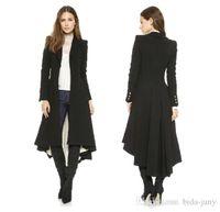 Wholesale long women british coat - Autumn Winter Brand Wraceful Woolen Overcoat Women fashion long black trench 2015 british style tuxedo manteau femme coats