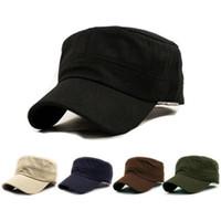 eski ordu şapkaları toptan satış-Sıcak Satış Katı Unisex Klasik Düz Vintage Ordu Cadet Tarzı Pamuk Şapka Ayarlanabilir Rahat Beyzbol Şapkası Düşük Fiyat @