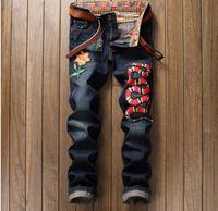 Wholesale men jeans size 38 - Wholesale- King Bright 2017 Spring Men's Snake Embroidery Denim Jeans Fashion Causal Jeans Ripped Men's Plus Size 28-38 Pants For 4 Season