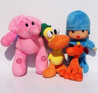 pokoyo peluş toptan satış-Toptan 4 adet / grup Pocoyo Elly Pato Loula Pocoyo Köpek Ördek Fil Dolması Peluş Oyuncaklar Çocuklar Için Iyi Hediye