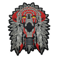 """Wholesale chief skull - Free Shipping LARGE HORNED CHIEF DEATH SKULL INDIAN MOTORCYCLE BIKER BACK PATCH 11"""" MC RIDER Vest Patch"""