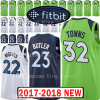Wholesale butler jerseys - Top quality 32 Karl-Anthony Towns 2018 New Mens MINNESOTA Jersey TIMBERWOLVES 22 Andrew Wiggins 23 Jimmy Butler Jerseys