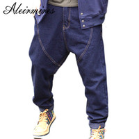 плюс брюки с капюшоном оптовых-Men Harem Jeans Hip Hop Drop Crotch Denim Pants New 2018 Streetwear Plus Size Mens Low Crotch Skateboarder Jeans Blue / Black