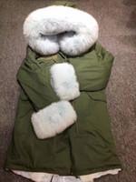 пальто с капюшоном для женщин оптовых-2018 Real Fur Coat Women With Lightblue  Fur Trim Hood Cuff Luxury Winter Thick Warm long russia coat