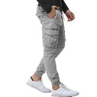 ingrosso pantaloni da jogger esercita per gli uomini-2017 Mens Camouflage Pantaloni Cargo Tattico Uomini Jogging Spinta Militare Pantaloni di Cotone Casuali Hip Hop Nastro Maschio esercito Pantaloni 38