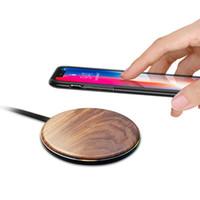 ingrosso cassa del telefono del rilievo-Caricatore wireless Samsung Walnut Wood per caricabatterie iphone X con cavo integrato Carica di ricarica wireless Qi con custodia per cellulare Campione gratuito