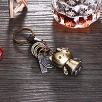 Wholesale Trend Girls Bag - Antique Bronze Plated zinc alloy exaggerated hot trend keychains Vintage punk style hello kitty crochet leather bag pendant car keychain
