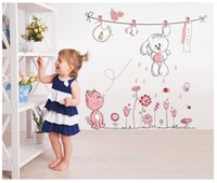 teddybär karikatur rosa groihandel-Rosa Cartoon Katze Kaninchen Blume Wandaufkleber Für Baby Mädchen Kinderzimmer Wohnkultur Teddybär Regenschirm Klassenzimmer Wandtattoos