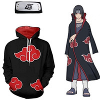 Wholesale itachi uchiha full cosplay online - Asian Size Japan Anime Naruto Akatsuki Itachi Uchiha Halloween Hokage Cosplay Soft Unisex Costume Hoodie Headband