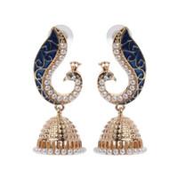 indisches bollywood großhandel-Die meisten Temperament Ohrringe im Jahr 2019 Retro indische Bollywood Kundan Peacock Jhumka Jhumki Ohrringe Gypsy Schmuck