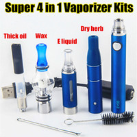 Wholesale oil vapes - Super Vape Dab Pens eVod UGO-V II Vaporizer 4 in 1 Starter Kits Dry Herb Wax Oil Vapes 510 Thread USB Passthrough CE3 Vape Cartridges Kit