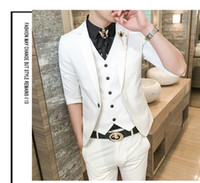 Wholesale thin lapel piece suits - Business Men's Suit Summer Thin Section Suit Male Slim Korean Groom Wedding Tuxedo Three-piece Blazer(Jacket+Pants+Vest)