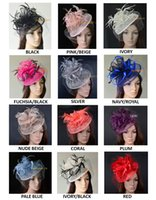 Wholesale Wholesale Fascinator Hats - 11 colours.Big Dress Wedding party Fashion sinamay fascinator hat with feathers and veiling,6 colors