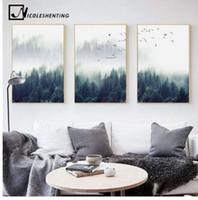 ingrosso pitture astratte onde-Nordic Decoration Forest Lanscape Wall Art Canvas Poster e stampa su tela dipinto Immagine decorativa per soggiorno Home Decor