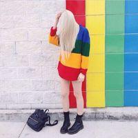 Wholesale rainbow stripe sweater - New Vintage Jumper Long Sleeve Rainbow Sweater Loose Stripe Knitted Pullover Womens