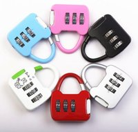 Wholesale combination travel suitcase luggage padlock lock - Travel Digit Code Safe Combination Luggage Lock Suitcase Drawer Handbag Padlock Bags Accessories Colors DDA435