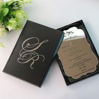 ingrosso inviti di nozze d'argento neri-Biglietti personalizzati per inviti di nozze in argento con piriflaggio personalizzato da 30 pezzi Inviti per feste con scatole nere