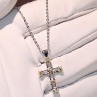 Wholesale 925 sterling silver crosses - Hot Sell Original Brand New Luxury Jewelry 925 Sterling Silver Princess Cut White Topaz Separate Color Cross Pendant Luucky Chain Neklace