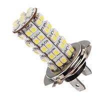 araç ışık ledli lamba 12v toptan satış-Xenon Beyaz 68 SMD Araba Oto H7 6000 K LED Ampul Başkanı Işık Sis Gündüz Lambası Araç 12 V Sis Farları Park Lambası Ampul