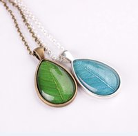 Wholesale Leaf Necklace Bronze - whole saleUnique design Bronze chain green leaf pendant necklace personalized silver plated blue leaves glass necklace women gift jewelry