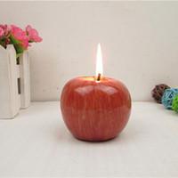 apfelförmige lampen großhandel-Rote Apple-Kerze mit Kleinpaket-Ausgangsdekoration-Frucht-Form-Duftkerzen-Lampen-Weihnachtsgeburtstag-Hochzeits-Geschenk Großverkauf Freies Verschiffen