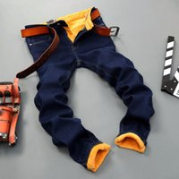 Wholesale fleece lined jeans - Classic Warm Jeans For Men Black Stretch Denim Male Jeans Fleece Lined Jeans For Men Winter Warm Plus Size 28 -40