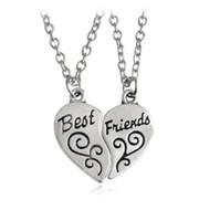 ingrosso coppia collane mezzo cuore-Vintage Silver Best Friends Partner chiave nel crimine Half Heart Yin Yang Collana pendente per gioielli donna Coppia ragazza Bijoux B708