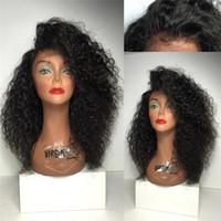 ingrosso parrucca piena di curl kinky-Brasiliano Afro Riccioli Capelli umani mongolo Afro Kinky Parrucche Ricci Capelli Umani Parrucca Piena Del Merletto Anteriore Per Le Donne Nere in magazzino