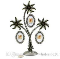 ingrosso artigianato decorativo di natale-Spedizione gratuita Coconut Tree Photo Frame appeso a parete foto per 3 piccole foto lega Art Crafts cornice Home Decor regalo di Natale