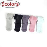 külotlu çoraplar desenli toptan satış-INS Vintage Girls Kaymaz Pamuklu Külot Bebek Çocuk Çocuk Girls Jakarlı Prenses Elmas Desenli Collant Külotlu çorap Tayt çorabı