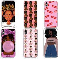 kız telefon kutuları iphone toptan satış-2bunz Melanin Poppin Aba Durumlarda iPhone Için X XS XR Max Moda Siyah Kız Yumuşak TPU Telefon Kapak iphone 6 6 Samsung S10e için Artı 7 8 Artı