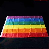 ingrosso sfilate-Fibra di poliestere Arcobaleno Bandiera 90x150 cm Gay Orgoglioso Striscia di Colore Banner per Festival Celebrazioni Party Decorare Parade Articoli Decorazione 5jh