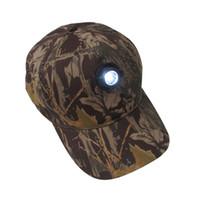 ingrosso le luci dei cappelli da caccia-Camo Cap Light Cap Night Fishing Cap Ciclismo Caccia Sport Durevole Cappelli Cappelli LED Baseball OOA5641