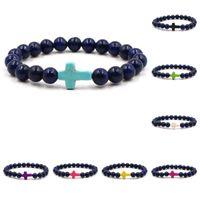 Wholesale lapis cross - Cross Bracelets Mens Women Yoga Chakra Beads Charms Bracelet Reiki Healing Meditation Energy Bangle Lapis Lazuli Natural Stone Bracelet