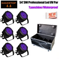 Wholesale dj wall - 6in1 Flight Case Pack 6 Unit 54x3W Led Par uplighting Par Wall Wash Wedding DJ Up Light RGBWAP Color Mixing Can Lamp for KTV Bar Pub Dance