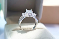 Wholesale genuine .925 sterling silver resale online - 2018 New Genuine Sterling Silver Jewellery mm Ct CZ Diamond Heart and Arrows Cut Classic Three Stones Engagement Ring