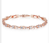Wholesale japanese fans for weddings - 6 Colors Luxury Rose Gold Color Chain Link Bracelet for Women Ladies Shining AAA Cubic Zircon Crystal Jewelry JIB013